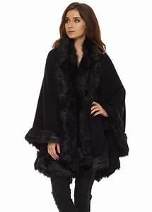 Black Poncho   Black Faux Fur Cape   Black Faux Fur Poncho  Black