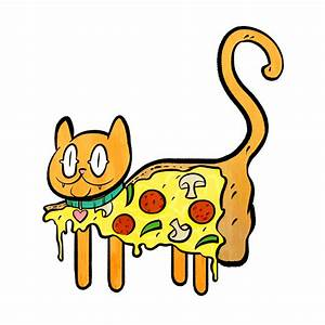Cat Eating Pizza Clipart - ClipartXtras