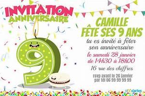 Invitation Anniversaire Fille 9 Ans : texte carte invitation anniversaire fille 9 ans lighteam ~ Melissatoandfro.com Idées de Décoration