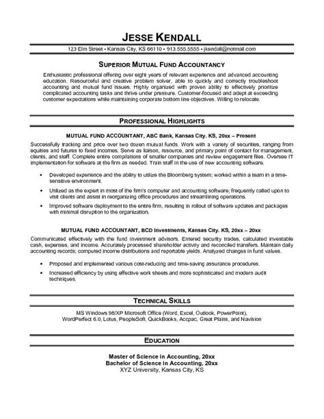 Accountant Career Summary Exles Resume by Free Fund Accountant Resume Exle