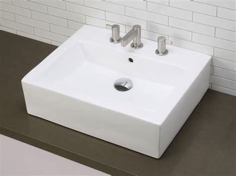 Rectangular White Ceramic Vessel With Faucet Holes-hole