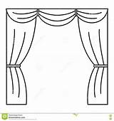 Curtain Stage Coloring Outline Icon Vector Illustration Web sketch template