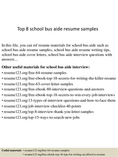 S Aide Resume Description by Top 8 School Aide Resume Sles