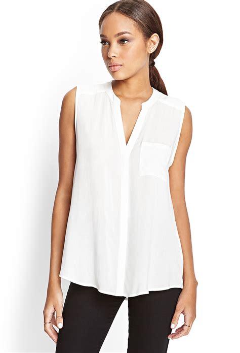 mandarin collar blouse forever 21 sleeveless mandarin collar shirt in white lyst