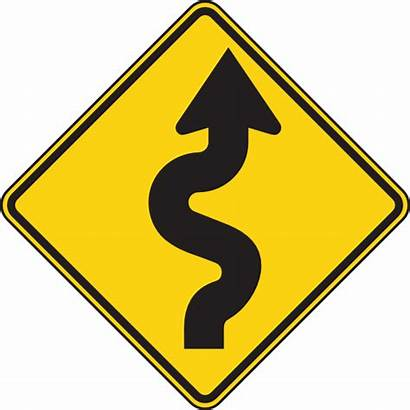 Road Winding Clip Clipart Right Sign Signs