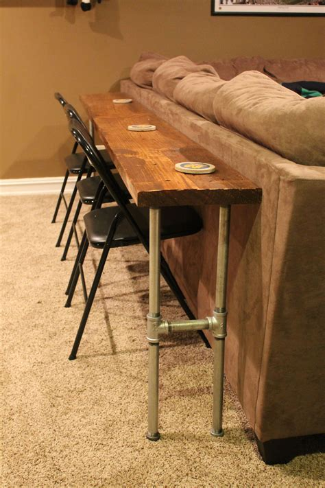 Sofa Tablebar Table Made From 2x8x12 Board And Conduit