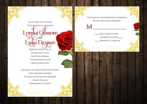 beauty   beast wedding invitation set perfect