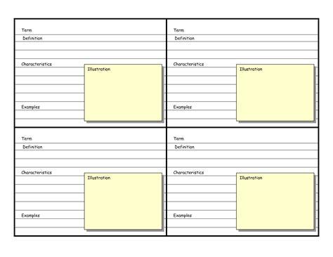 blank vocabulary card template vocabulary flash cards