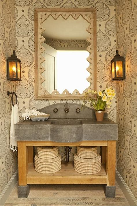 rustic powder room  wood  concrete washstand