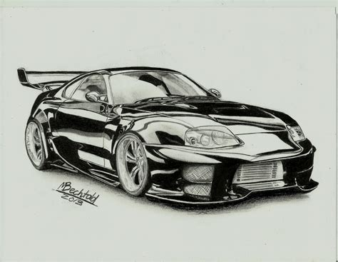 car drawing toyota supra tuning car drawing realistic by maxbechtold