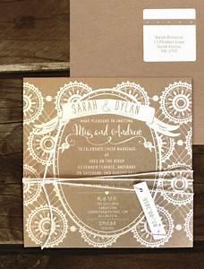 rustic lace white ink on kraftblack invite online With rustic lace wedding invitations australia