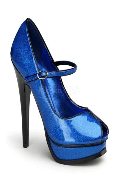 blue pearl glitter peep toe mary jane pumps heel shoes