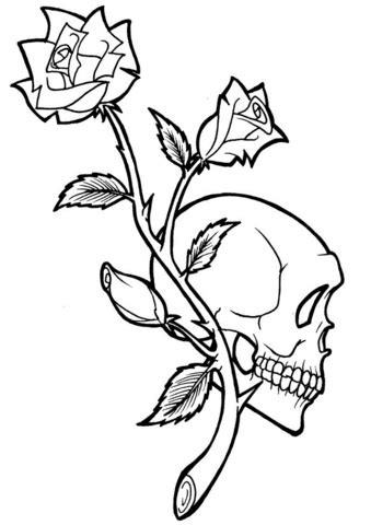 rose  skull tattoo coloring page  printable