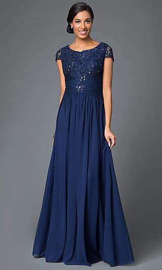 long ruched chiffon prom dress  sleeves promgirl