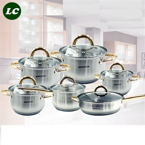 inox pots cooking pot cookware quality utensils sets kitchen utensil frypan casseroles 12pcs senior food