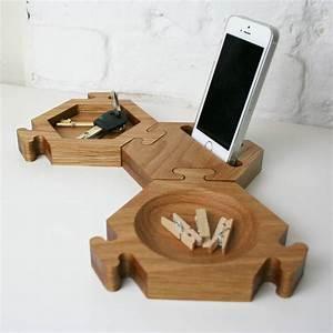 solid oak interlocking hexagon desk tidy by wood paper