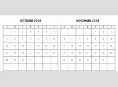 Free October & November 2018 Printable Calendar Template