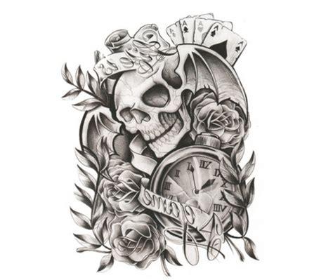 black white roses skull head tattoo