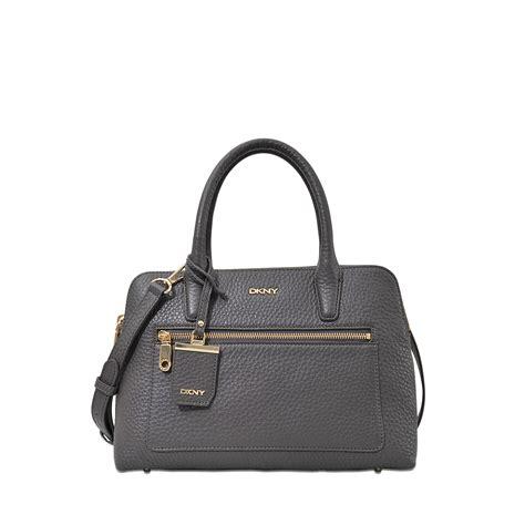 lyst dkny tribeca double zip satchel bag  gray