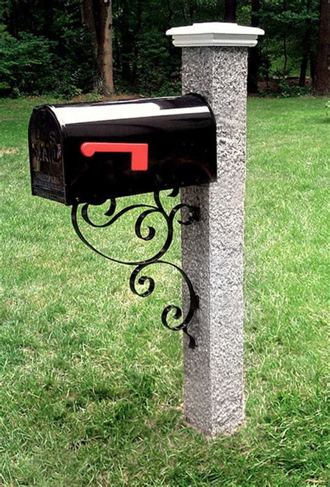 granite mailbox post with white post cap traditional