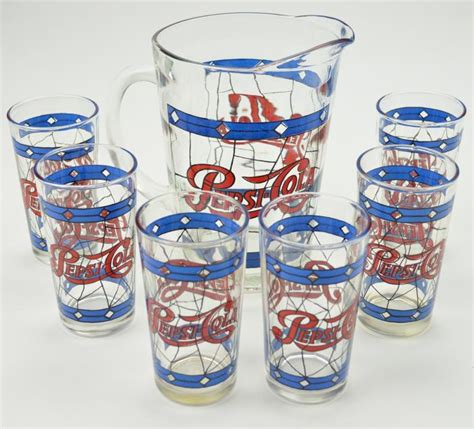 pepsi cola vintage 1970 s pitcher and six glasses stained glass look