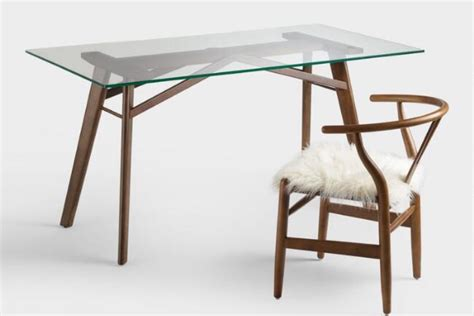 wooden office desk with glass top minimal wooden desk with glass top mugwomp