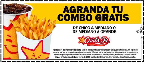 Carl's Jr: Cupones Agranda tu combo gratis