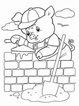 Pigs Three Pages Coloring Printable Houses Cartoon Recommended sketch template
