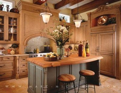 traditional kitchen wood cabinets wood countertop island