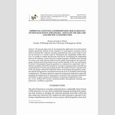 (pdf) Improving Listening Comprehension Skills Relying On Metacognitive Strategies  Focus On