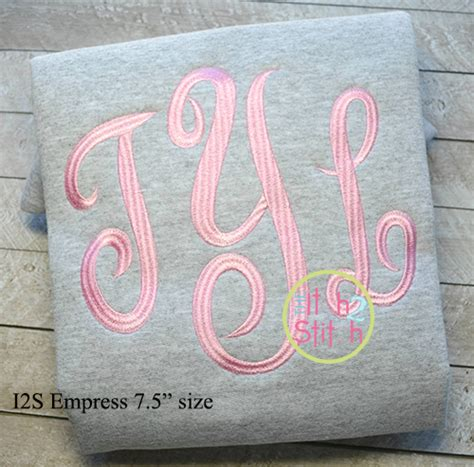 empress large monogram embroidery font  itch  stitch