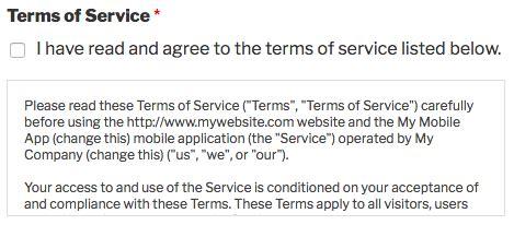 add  terms  service checkbox   form