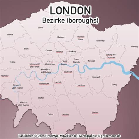 Mit modernen kartendaten wandele ich sie mit zeitgemäßen grafiken in wandkunst um. London PowerPoint-Karte Bezirke Boroughs - grebemaps ...