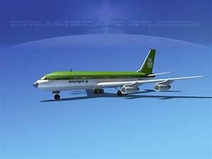 Boeing 707 Aer Lingus 3D Model Rigged MAX OBJ 3DS LWO LW