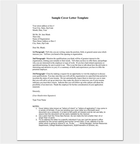 Outline For A Cover Letter by Cover Letter Outline Template 7 Sles Exles Formats