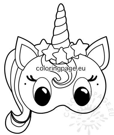 unicorn paper mask template coloring page