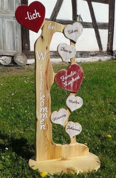 Holz Stele Herzlich Willkommen Familie Herz Holz Namen