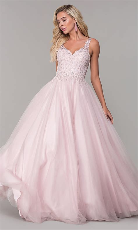Long Dusty Pink Tulle Prom Dress With Embroidery