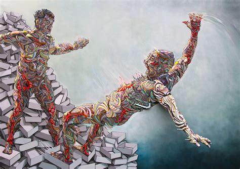 graffiti meets sculpture  colorful figures  explode