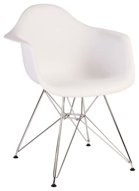 eames style dar molded white plastic dining armchair with