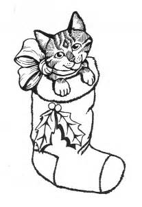 Christmas Kitten Coloring Pages