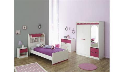 meubles chambre fille chambre à coucher bois pin lasuré framboise 4 éléments
