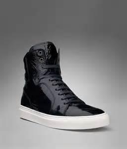 Black Leather High Top Sneakers Men