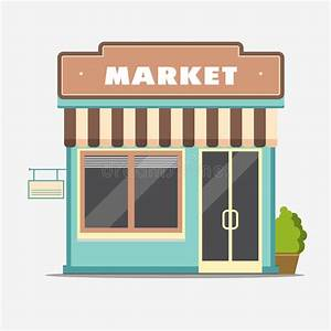 Market Street Shop Small Store Front Stock Vector
