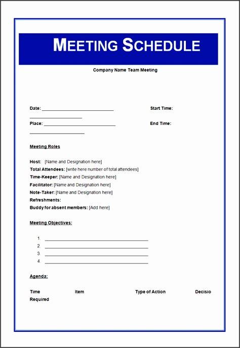 meeting schedule template sampletemplatess