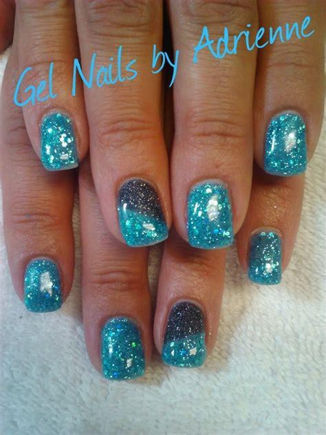 gelnägel glitzer glacier blue glitter gel gel nails by adrienne in 2019