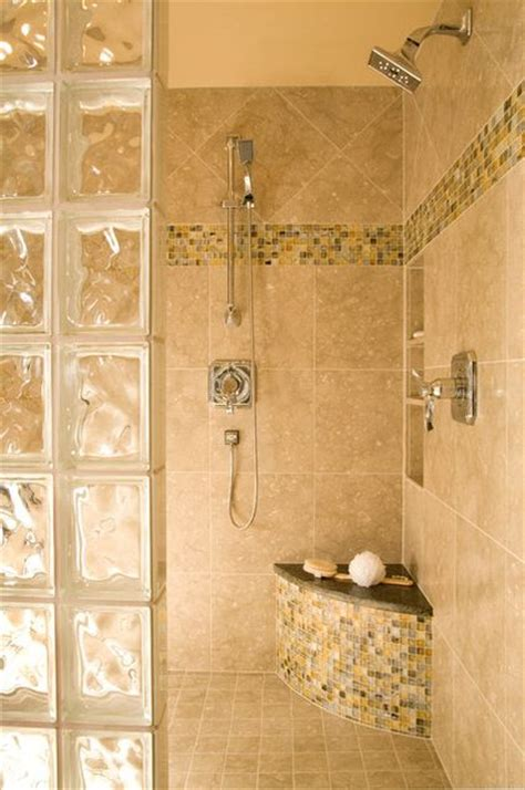 colored glass block shower traditional bathroom