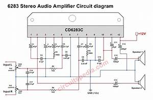 A6283  Cd6283 Stereo Audio Amplifier Circuit Diagram  6283