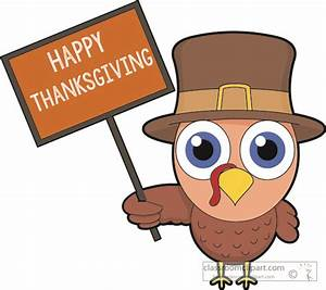 Thanksgiving Clipart Clipart- turkey-holding-sign-happy ...