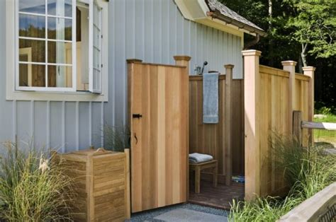 Building An Outdoor Bathroom Ready Made Outdoor Shower Ideas Enclosure Designs Bee